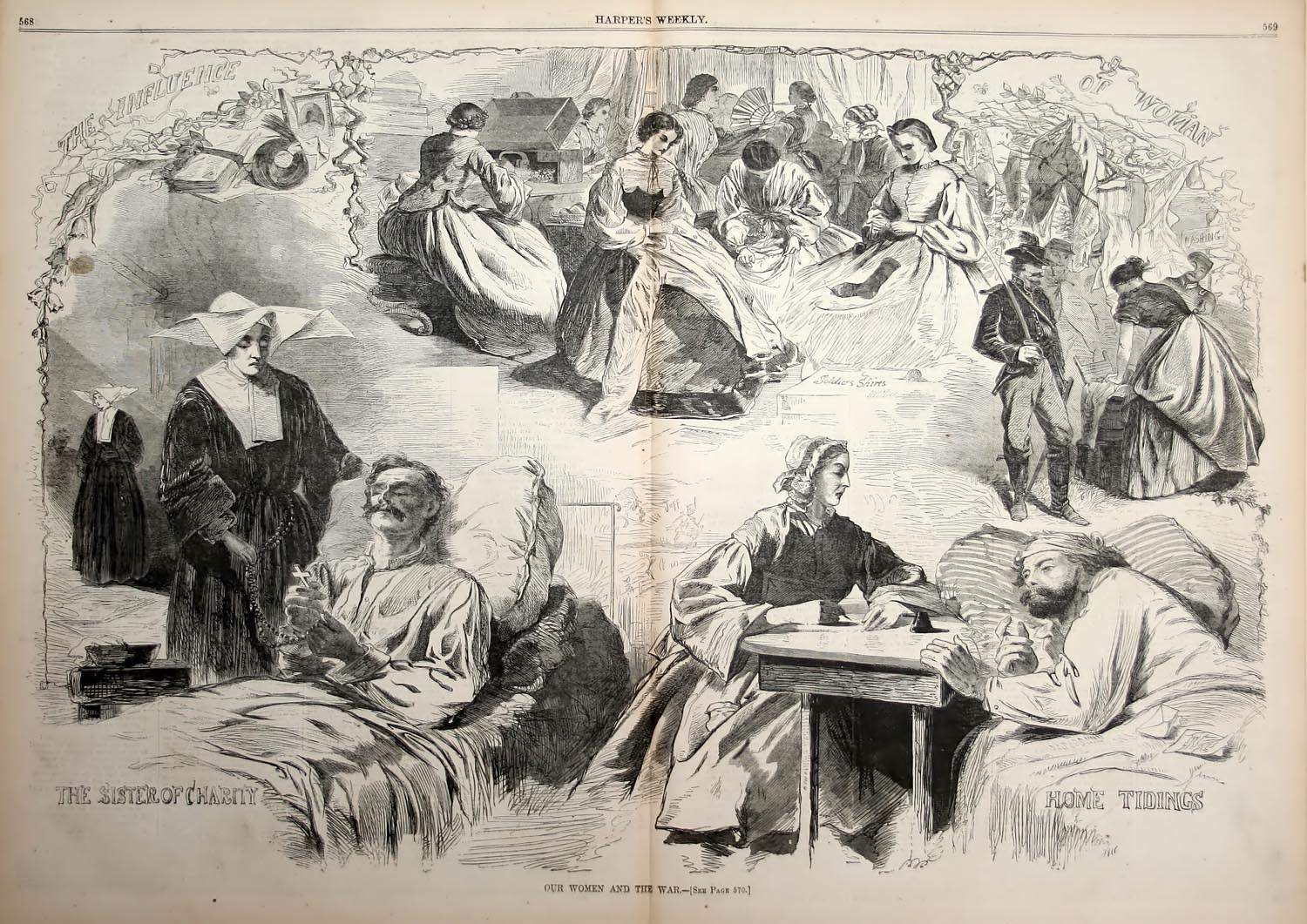 This illustration depicts the different roles women filled during the Civil War.