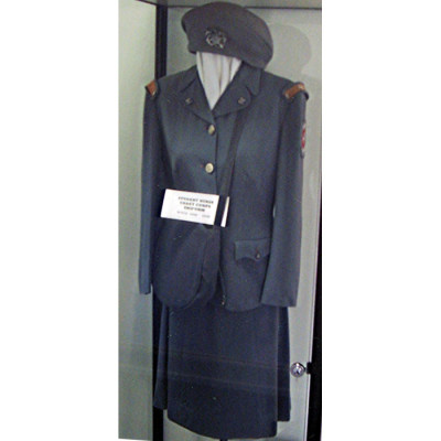 Cadet Nurse uniform a gift from Evelyn Benson in the archives of the Nursing History Museum (2006-2-29-a-b-c-d)